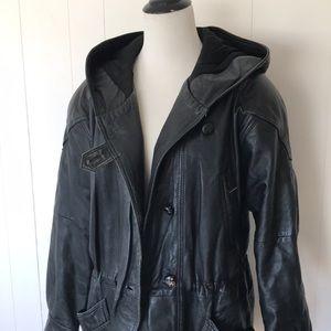 🔥90's VTG Leather Parka